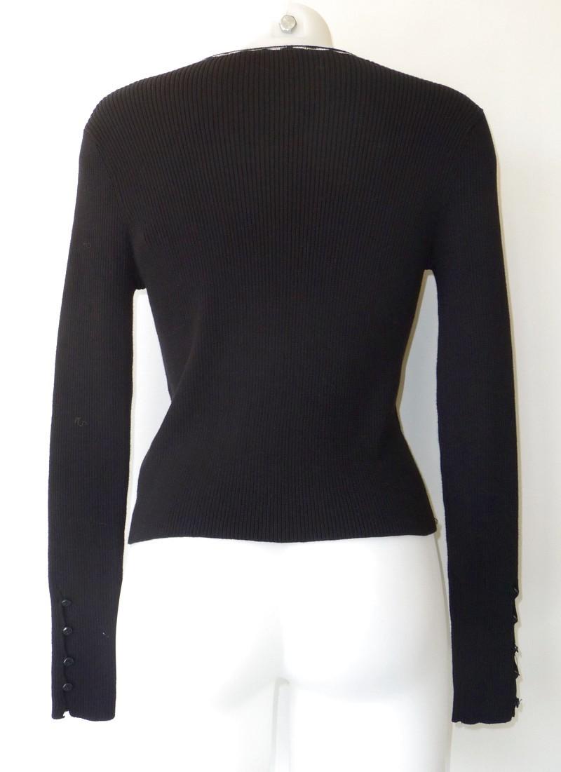 Cardigan van geribbeld tricot met witte print afgeboord