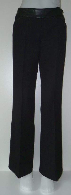 Dames pantalon met lederlook accenten