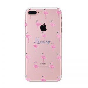 Transparant GSM hoesje met flamingootjes