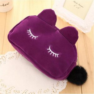 Fluwelen katten make-up tasje