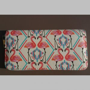 Canvas portemonnee Flamingo duo